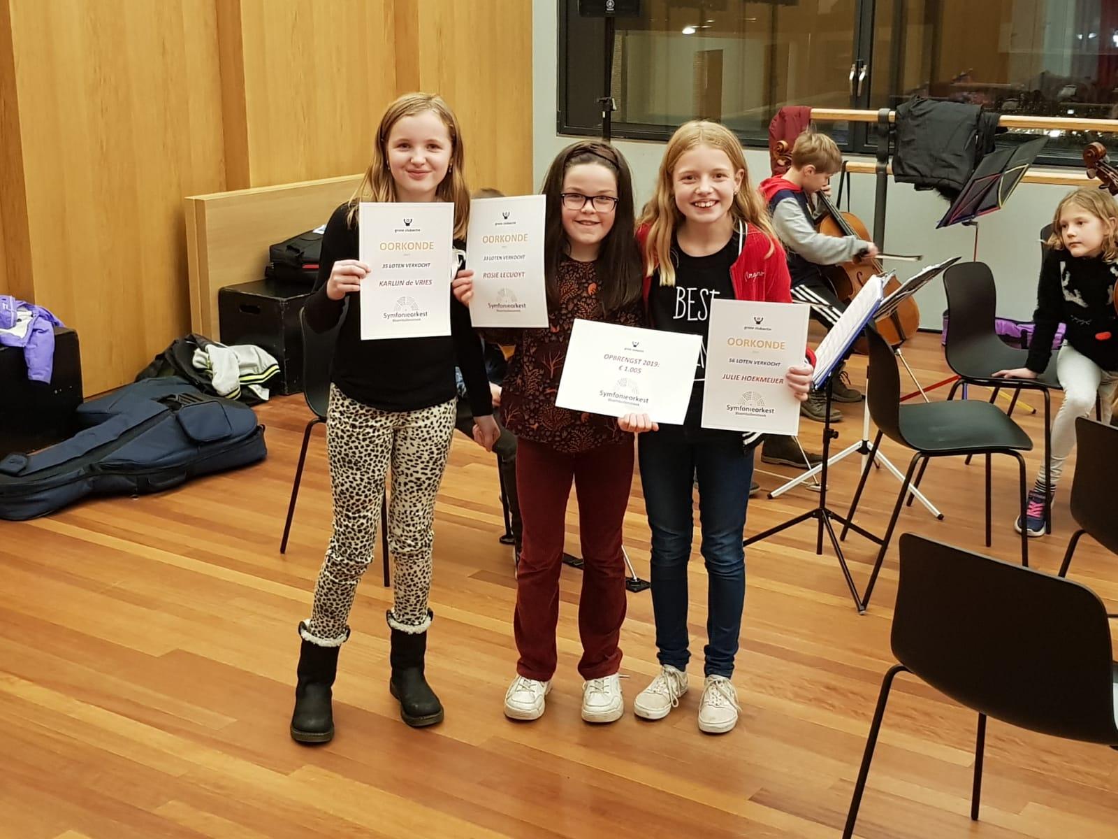 Winnaars Oorkondes Grote Club Actie 2019 Symfonieorkest Bloembollenstreek